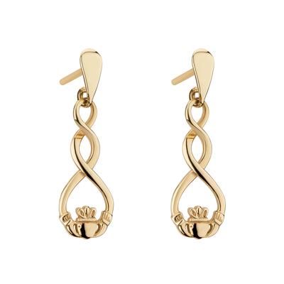 9K GOLD CELTIC CLADDAGH EARRINGS