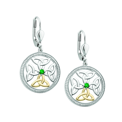 SILVER 10K GOLD EMERALD CELTIC KNOT EARRINGS(BOXED)