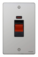 Schneider Ultimate Low Profile Tall Cooker switch with neon Polished Chrome with Black Insert | LV0701.0071