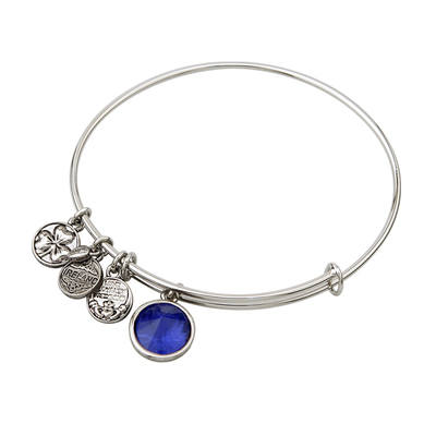 RHODIUM BIRTHSTONE CHARM BANGLE - SEPTEMBER