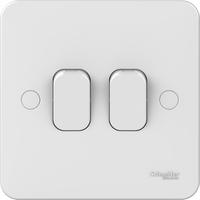 Schneider LWM 2 gang 2 way 10AX plate switch