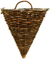 "Black Rattan Wall Basket 12"""