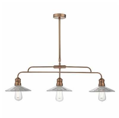 Adeline Bar 3 Light Pendant, Brushed Copper & Glass | LV1802.0046
