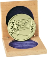 66mm Soccer Medallion in Wood Box (Gold)
