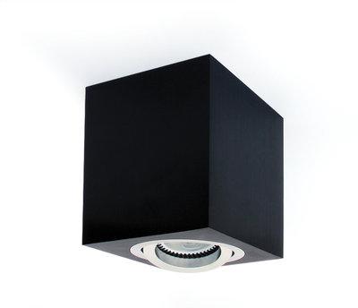 ONE Light Square GU10 Surface Spot Black with Aluminium Trim