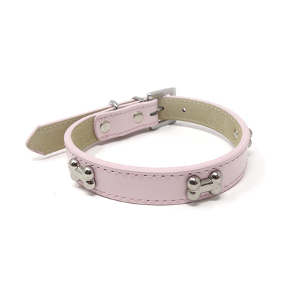 Pink Bone Leather Collar 40cm/16in (3)  *D