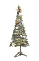 LED WOODEN DECORATED CHRISTMAS TREE  COMES WITH BATTERIES