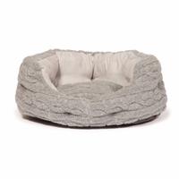 "Danish Design Oval Slumber Bed - Bobble Fleece Grey 24"" x 1"