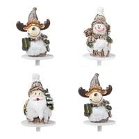 14999- Christmas figurines silver 4 cm. 64 X 4CM (SANTA, SNOWMEN, REINDEER)