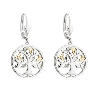 10K GOLD & DIAMOND SILVER TREE OF LIFE EARRINGS(BOXED)