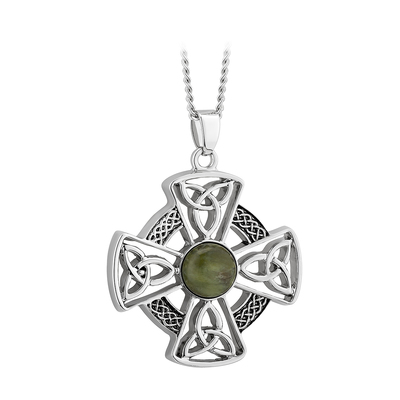 RHODIUM MARBLE CELTIC CROSS PENDANT