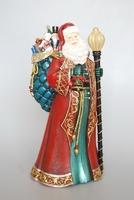 Christmas Santa Ornament with LED Light on Staff