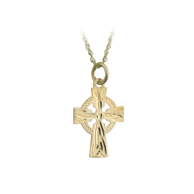 14K CELTIC CROSS HAND ENG. 15MM