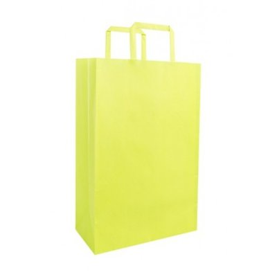 PAPER BAG LIME GREEN SMALL 22X11X32 PKT 25