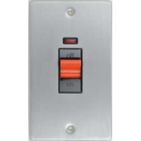 Schneider Ultimate Low Profile Tall cooker switch with neon Brushed Chrome with Black Insert | LV0701.0033