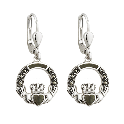 S/S MARCASITE & MARBLE CLADDAGH DROPS