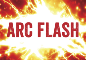 Arch Flash text on an electric flash background