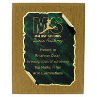 20cm Green Scroll on Oak Plaque