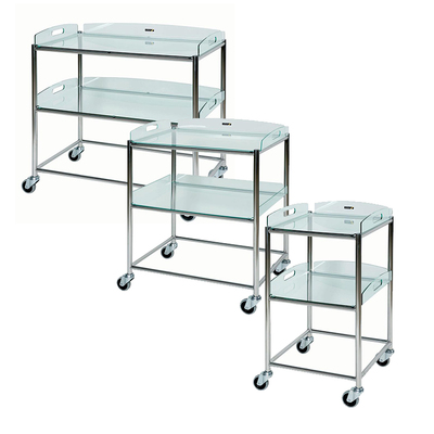 Surgical Trolley with 2 Glass Effect Trays