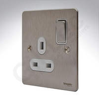 Flat Plate Stainless Steel 13A 1G Switch SKT WHITE | LV0701.0083