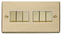 Click Deco Victorian Polished Brass with White Insert 6Gang 2 Way 'Ingot' Switch | LV0101.0152