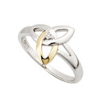 sterling silver and gold diamond trinity knot ring s2977 from Solvar
