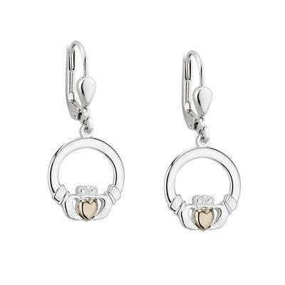 sterling silver gold heart claddagh earrings s33960 from Solvar