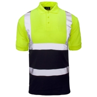 Supertouch Hi-Visibility 2 Tone Polo, Yellow/Navy