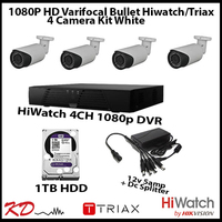 4 Camera CCTV 1080 Varifocal Bull Kit - White