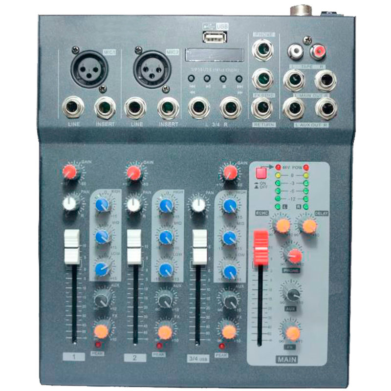 Audio Mixer F4 with USB and Bluetooth