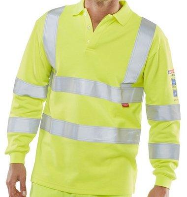 ARC Flash FR Anti-Static Hi-Viz Long Sleeved  Polo Shirt