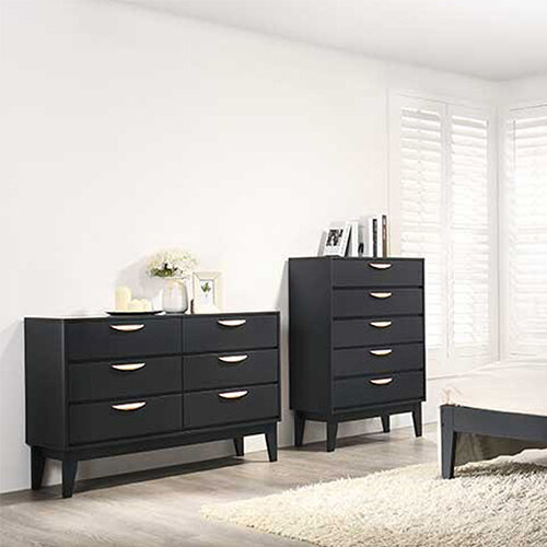 Selini Tall Chest - 5 Drawer - Blue in room setting