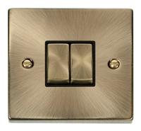 Deco Antique Brass 10A 2G 2W Switch