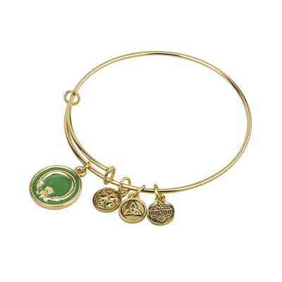 GOLD TONE ENAMEL CLADDAGH BANGLE