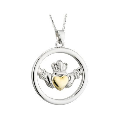 TWO TONE CIRCLE CLADDAGH PENDANT