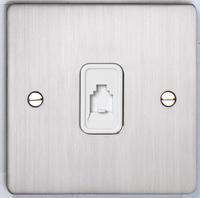 DETA Flat Plate RJ11 data plate Satin Chrome with White Insert   LV0201.0198