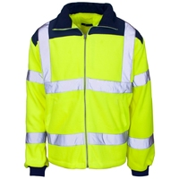 Supertouch Hi-Visibility Fleece Jacket - Rain Patch, Yellow/Navy