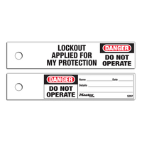 Master Lock Do not operate safety maintenance tag, english