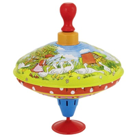 Mother Goose themed Spinning Humming Top with wooden handle