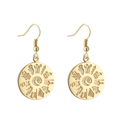 14K HOI DISC DROP EARRINGS(BOXED)