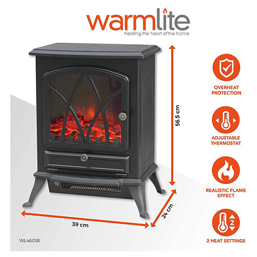 Warmlite Stirling 2 KW Compact Electric Freestanding Stove Fire with dimensions