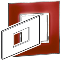Arteor (British Standard) Plate 3 Module 2 Gang Square Mirror Red | LV0501.2735