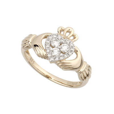 14K DIAMOND CLADDAGH RING(BOXED)