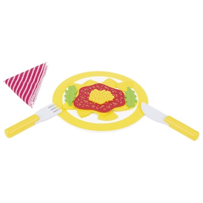 Toy wooden lunch set on a plate with knife and fork