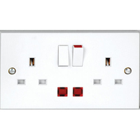 Vimark 13A 2 Gang Switched Socket Neon