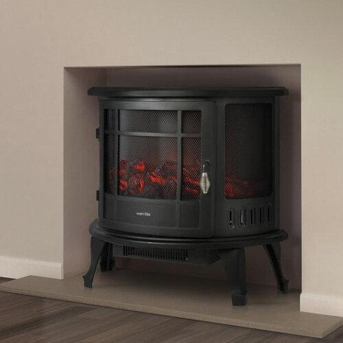 Warmlite Bath Log Effect Stove Fire Black - 1.8kw in room setting