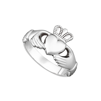 STERLING SILVER HEAVY MAIDS CLADDAGH RING