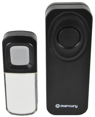 Waterproof Wireless Doorbell w/ Wireless Chime - Black