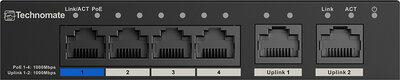 Technomate 4 Port Gigabit POE Switch 2xUplink