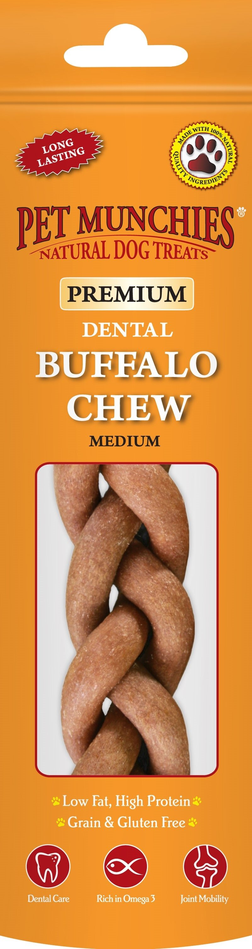 Pet Munchies Dog Buffalo Chews Medium x 8
